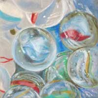 Glass marbles pastel drawing