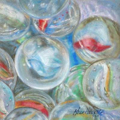 Completed glass marbles pastel drawing